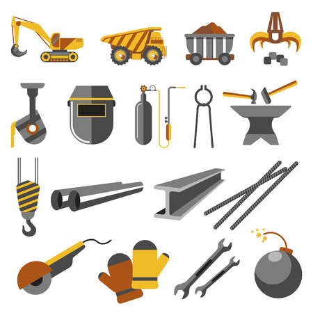 ferraille: Icons set de l'industrie de la métallurgie Illustration