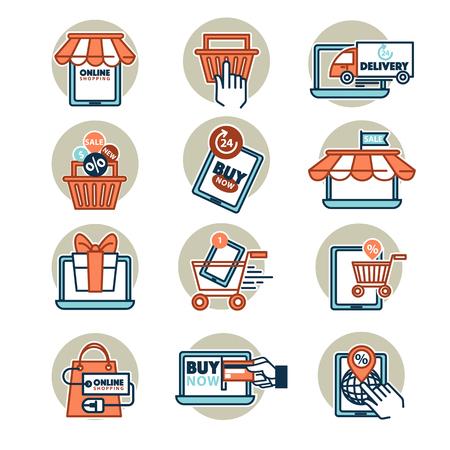 web shopping: Online shopping web icons set.