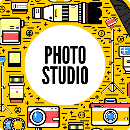 photography equipment: Photographer or photostudio concept design illustration. Illustration