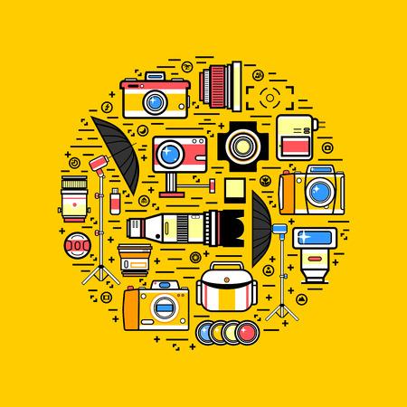 Photographer or photostudio concept design illustration. Illustration