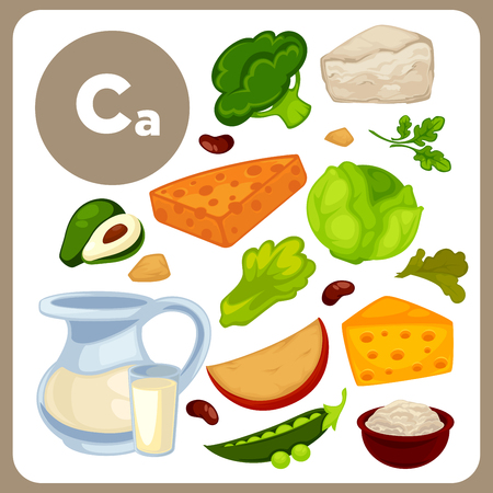 Illustrations of food with Ca. Illustration