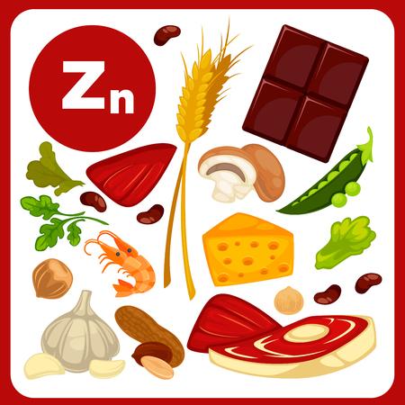 zinc: Illustrations food with mineral Zinc. Illustration