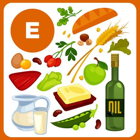Ensemble d'aliments avec de la vitamine E. Vecteurs