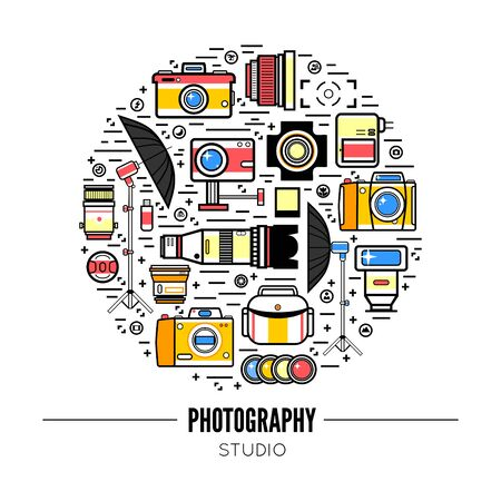 Photographer or photostudio concept design illustration.