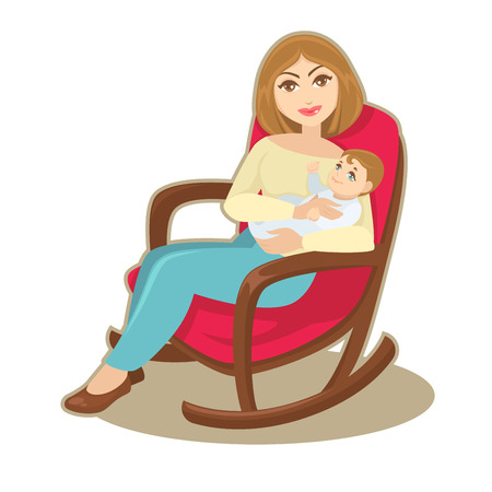 woman drinking milk: mother holding her child. Illustration
