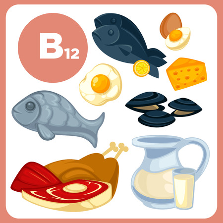 Icons food with vitamin B12.