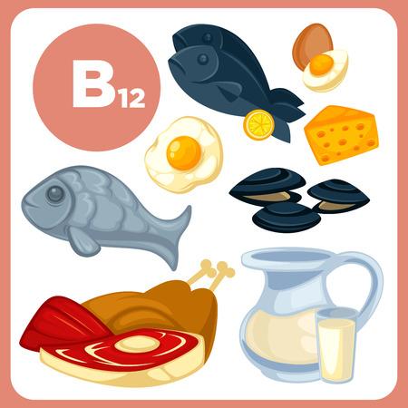 vitamina a: Iconos de alimentos con vitamina B12.