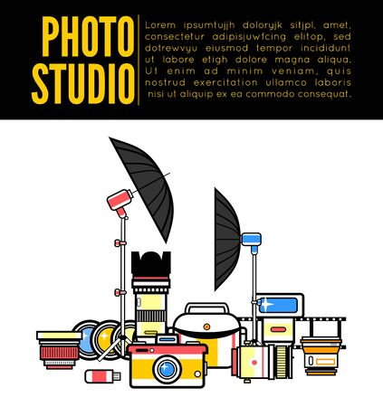 Photographer or photostudio concept design illustration. 矢量图像