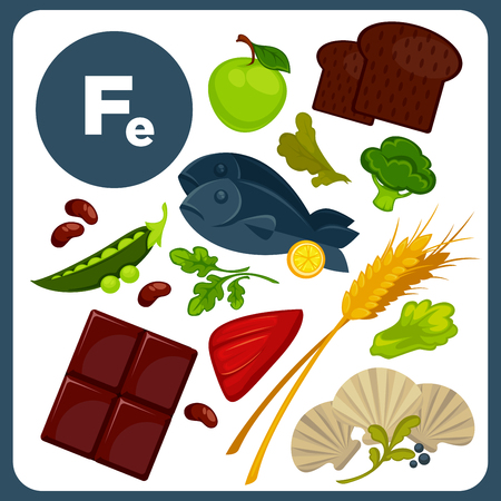 Illustrations food with mineral Fe.