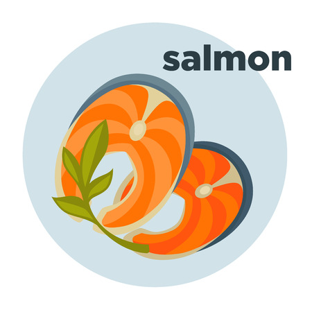 Piece or slice red fish. Raw salmon steak - fresh and healthy seafood. Icon of delicious food of sea. illustration isolated on white background. Design element in cartoon style