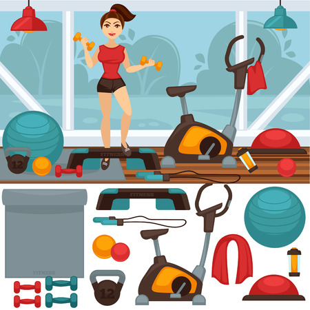 gym equipment: Home Fitness equipment and gym interior Illustration