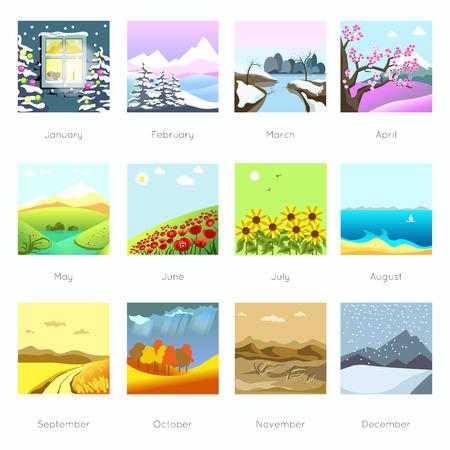 Paisajes en diferentes temporadas, clima.