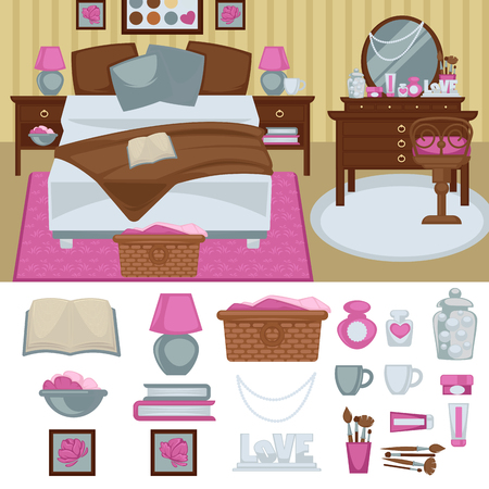 bedroom furniture: Woman bedroom interior with furniture.