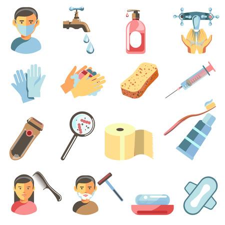 Icons set of hygiene and sanitary. Illustration