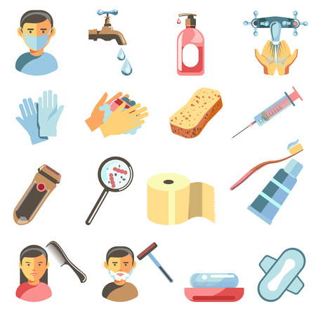 scrubbing: Icons set of hygiene and sanitary. Illustration