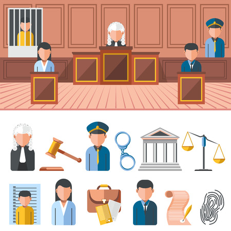 jail: Law system banner, icon set