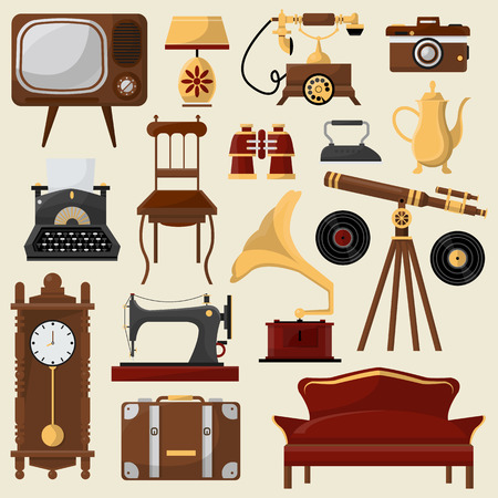 Vintage home furniture and accessories. Illustration
