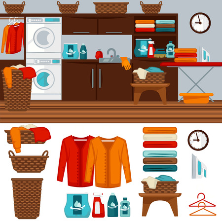 home icon: Laundry room with washer illustration. Illustration