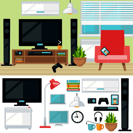 playstation: Concept of creative living room with chair and tv Illustration
