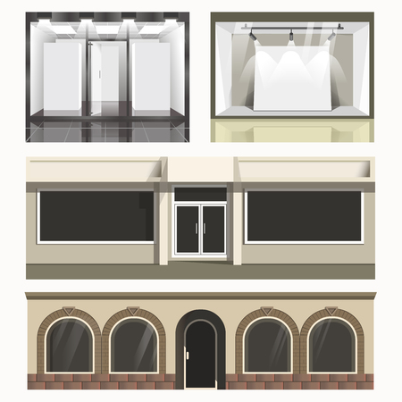 forepart: Icons set of showcases stores. Stock Photo