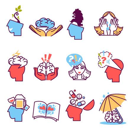 Icons set of psychotherapy, psychology. Stock Illustratie