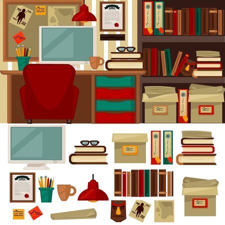 office objects: Home office furniture library interiors and objects. Home office library Flat icons set chair, table, lamp clock, cup and book, monitor and shelf. Home office library Isolated illustration Stock Photo