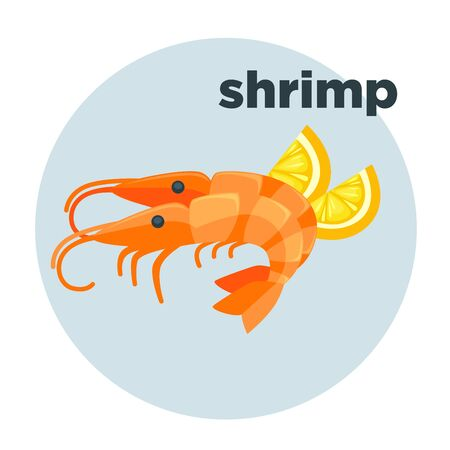 Shrimp with lemon. Red prawn. Illustration