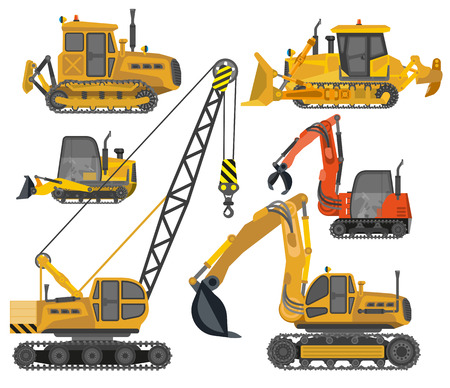 road scraper: Icons set of construction machinery