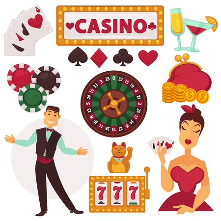 wheel of fortune: Icons set play in casino.