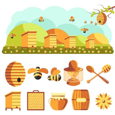 Beekeeping icons set: honey, bee
