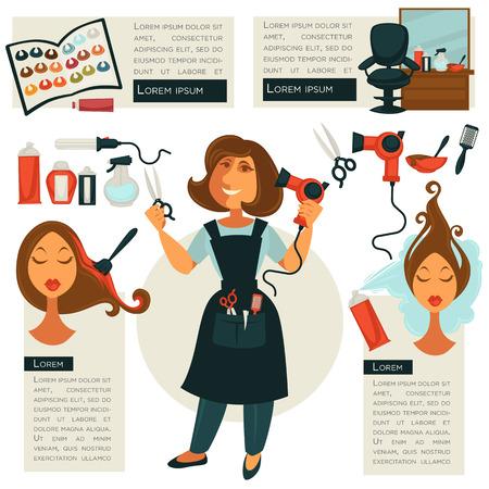 curler: Hairdresser symbols and barber tools