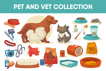 Dog cat pet stuff and supply set