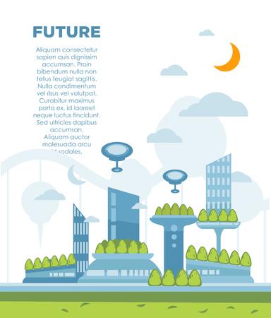 real estate house: Future city landscape concept. Vector modern cityscape background illustration