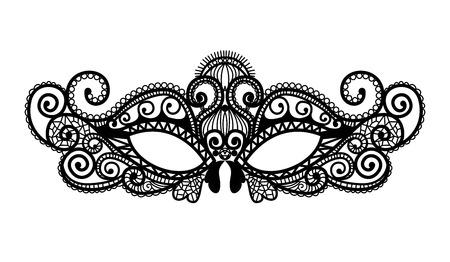レース コレクションのマルディグラ マスクを設定します。  イラスト・ベクター素材