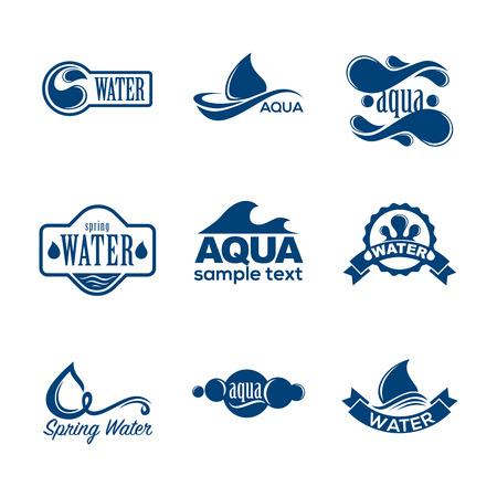 Blauwe logo's set. Etiket voor mineraalwater. Aqua iconen collectie. Logo