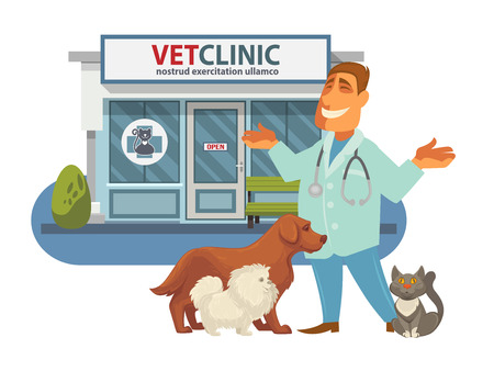 shop for animals: Veterinary medicine hospital, clinic or pet shop for animals.