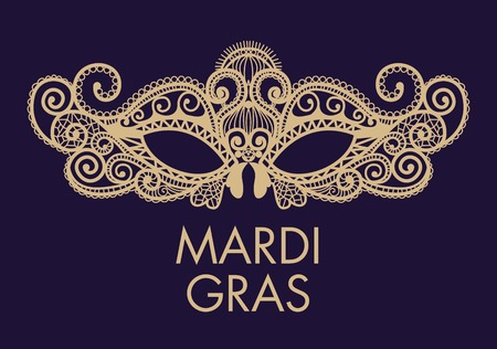 human face: Mardi Gras mask of lace collection set. Illustration