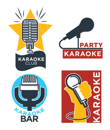 mc: Karaoke club and bar vector labels or logotype design collection set. Illustration