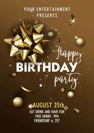 festive background: Happy Birthday invitation poster template. Stock Photo