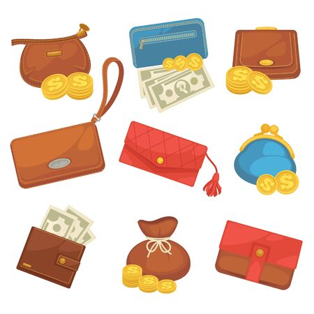 wallet: Icons set of wallets with money shopping.