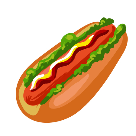 Hotdog. American fast food bun with sausage Illustration
