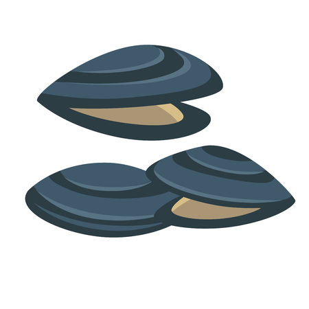 fresh seafood: Vector mussel. Fresh and tasty seafood icon.