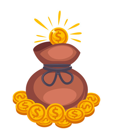 close up: Money bag vector icon. Isolated on white Illustration