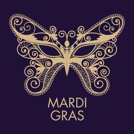 bdsm: Mardi Gras mask of lace collection set. Illustration