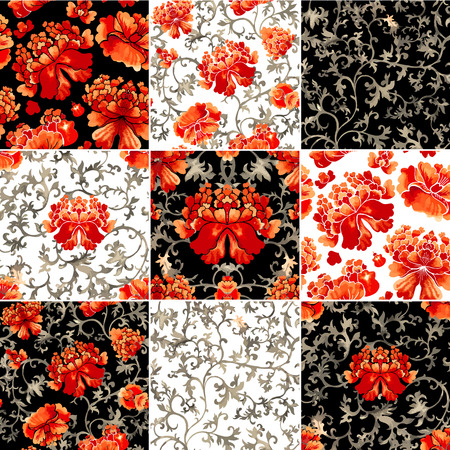 Seamless chinese pattern. Watercolor style wallpaper with floral ornament .