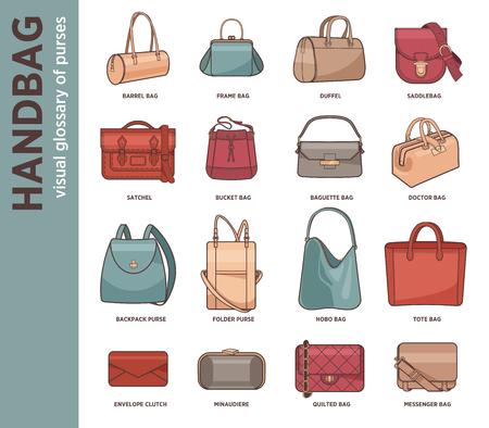 saddlebag: Vector set with fashion bags Illustration