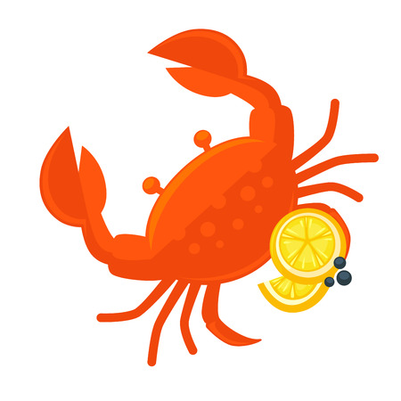 fresh seafood: Crab with lemon vector illustration. Fresh seafood icon. Crustacean with claw - ocean or sea food, sign for restaurant menu. Design element in cartoon style, isolated on white background Illustration