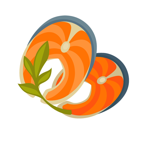 salmon fillet: Piece or slice red fish. Raw salmon steak - fresh and healthy seafood. Icon of delicious food of sea. Vector illustration isolated on white background. Design element in cartoon style Illustration