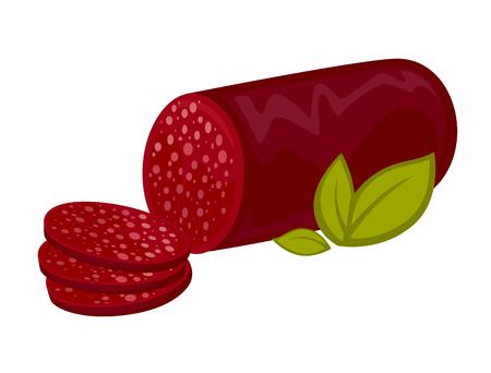 Salami or pepperoni vector icon.