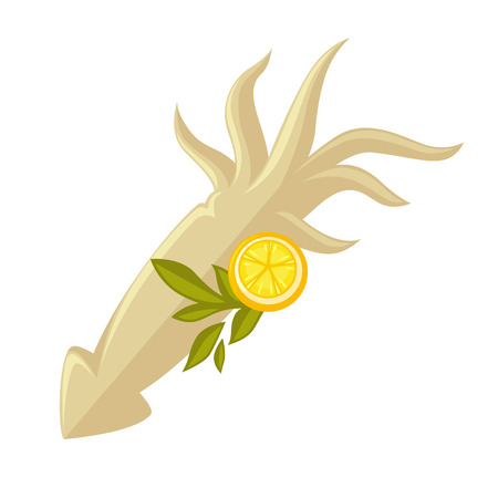 Icon of squid with lemon.